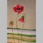 Grisard coussin peint sur lin et ajout de textiles