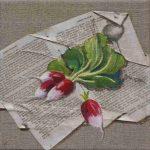 Grisard radis peints sur lin et collage de papier ancien